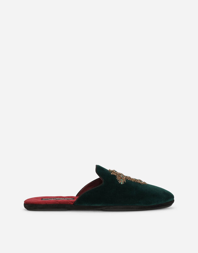 Velvet slippers with cross embroidery in GREEN