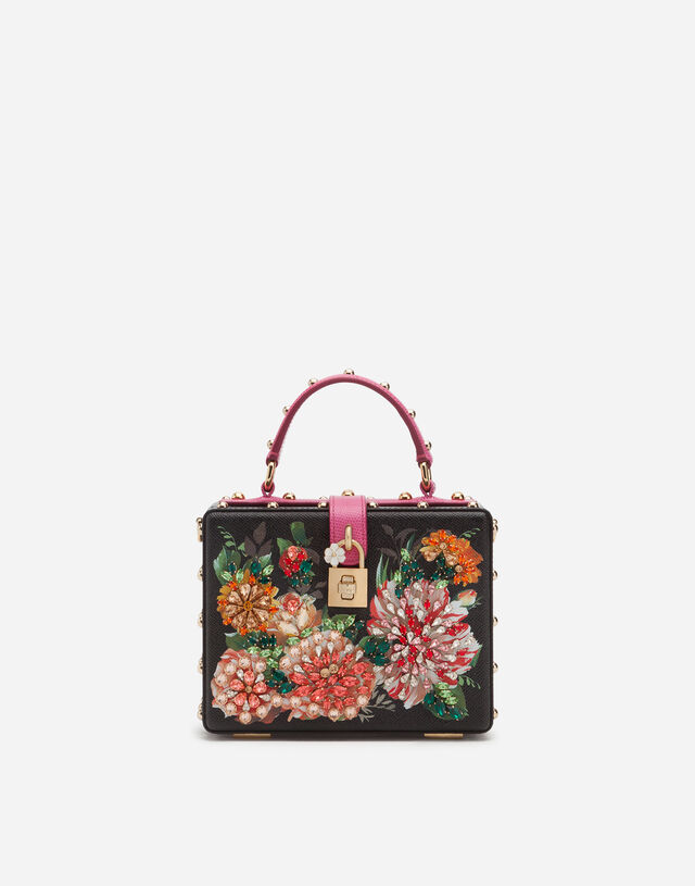 Dolce Box bag in printed dauphine calfskin with embroidery in Floral Print