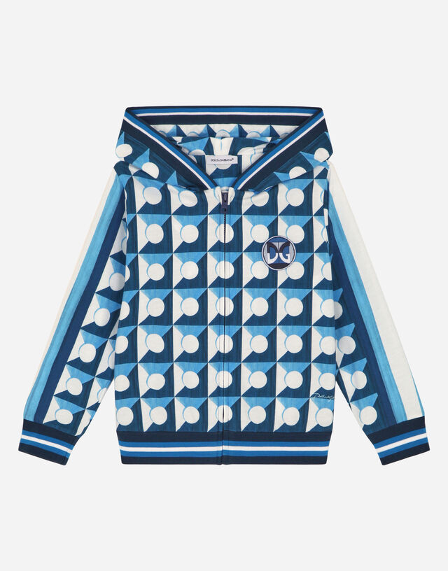 Jersey hoodie with geometric print in Multicolor