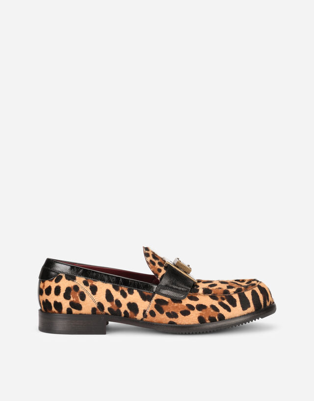 Leopard-print pony hair loafers with branded plate in Multicolor