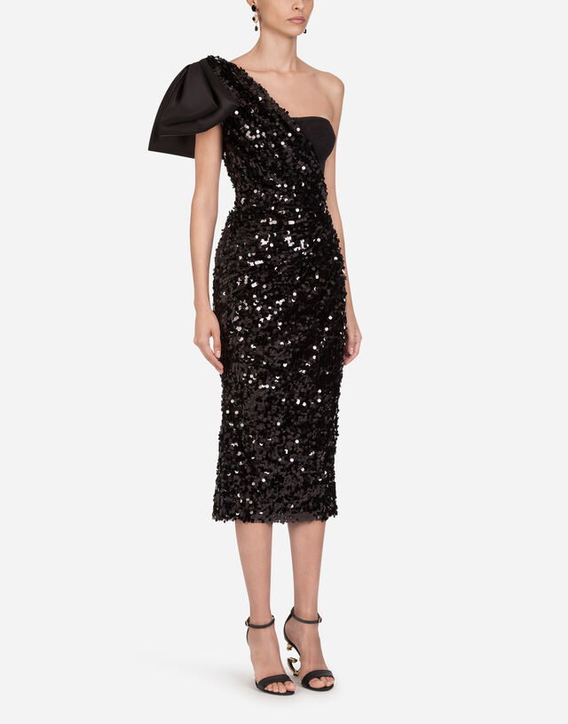 Sequined longuette dress with bow in BLACK