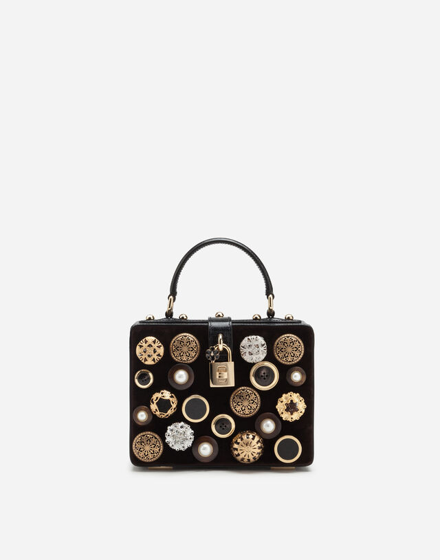 Dolce Box bag in velvet with embroidery in MULTICOLOR