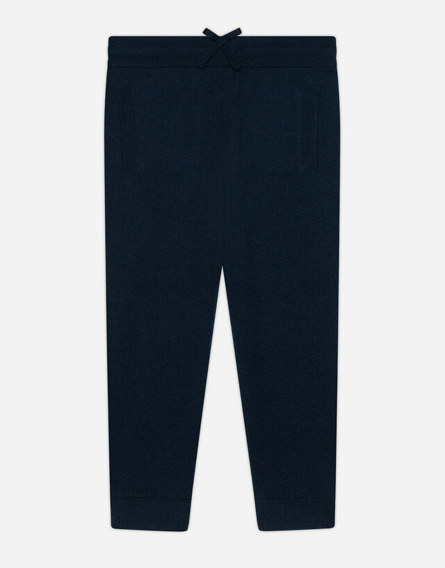 Cashmere jogging pants with Heritage embroidery in Blue