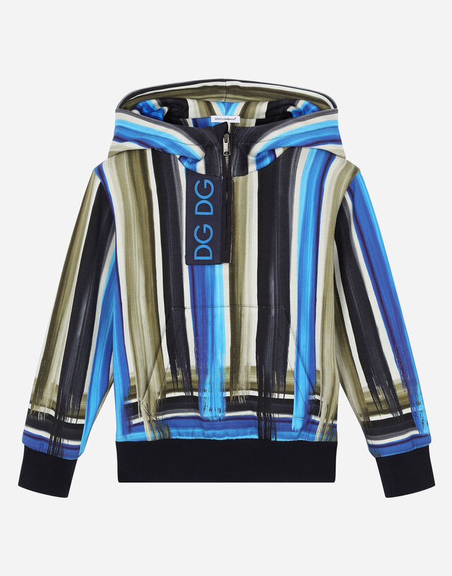 Jersey hoodie with painted stripe print in Multicolor