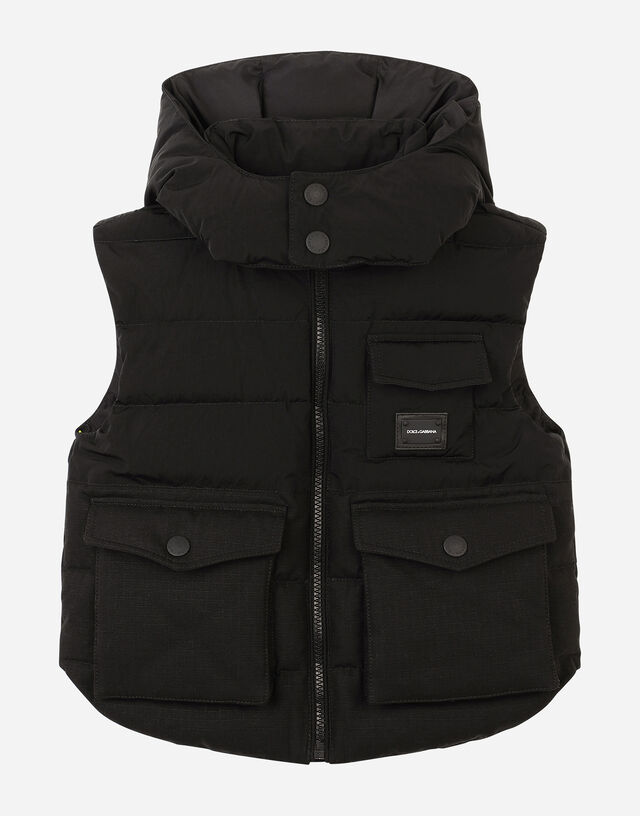 Sleeveless nylon and ripstop down jacket with hood in Black
