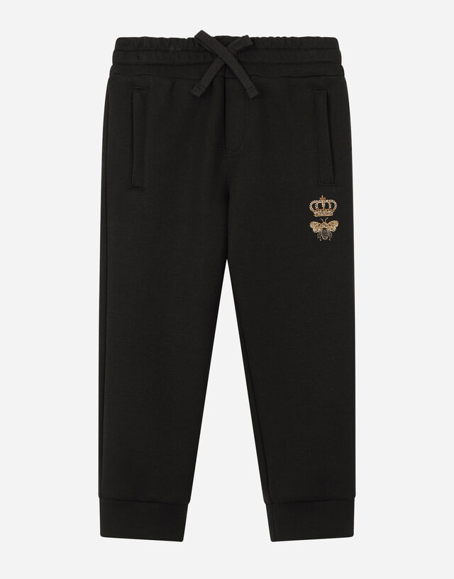 Jersey jogging pants with crown and bee embroidery in Black