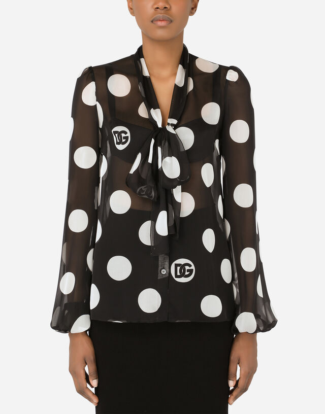 Chiffon pussy-bow shirt with polka-dot print in Multicolor
