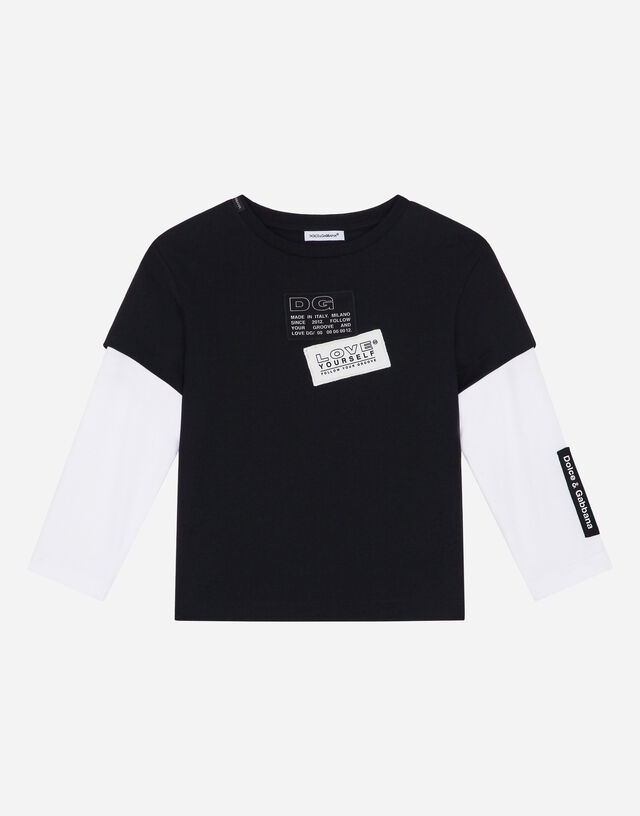Long-sleeved jersey t-shirt with lettering patch in Black