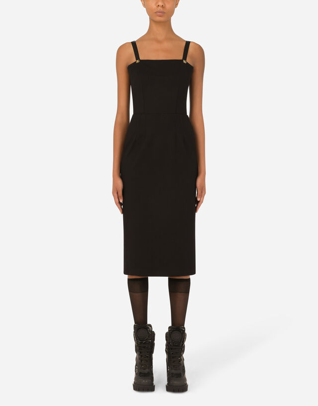 Jersey calf-length dress with DG embellishment in Black