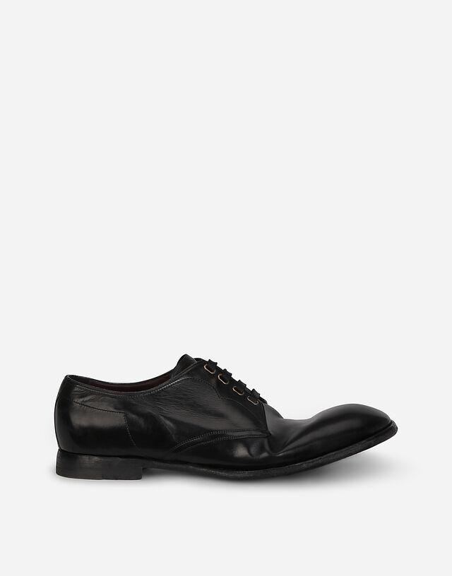 Vintage-finish calfskin derby shoes in BLACK