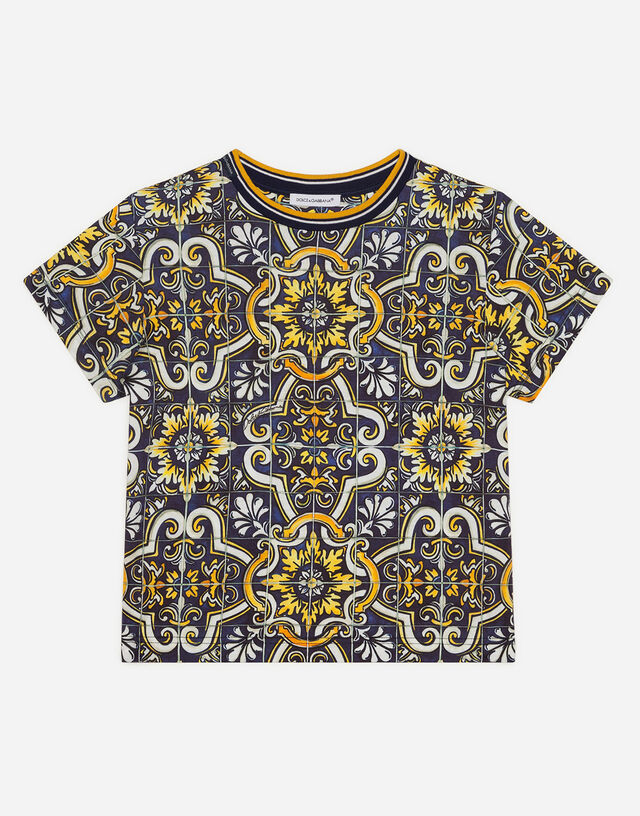 Jersey t-shirt with maiolica print in Majolica Print