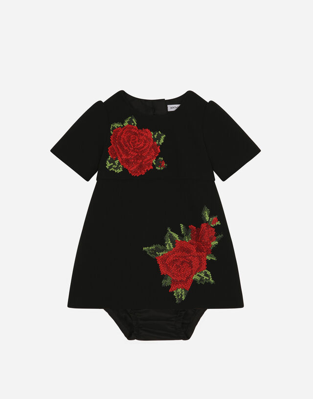 Short cady dress with crochet rose in Black