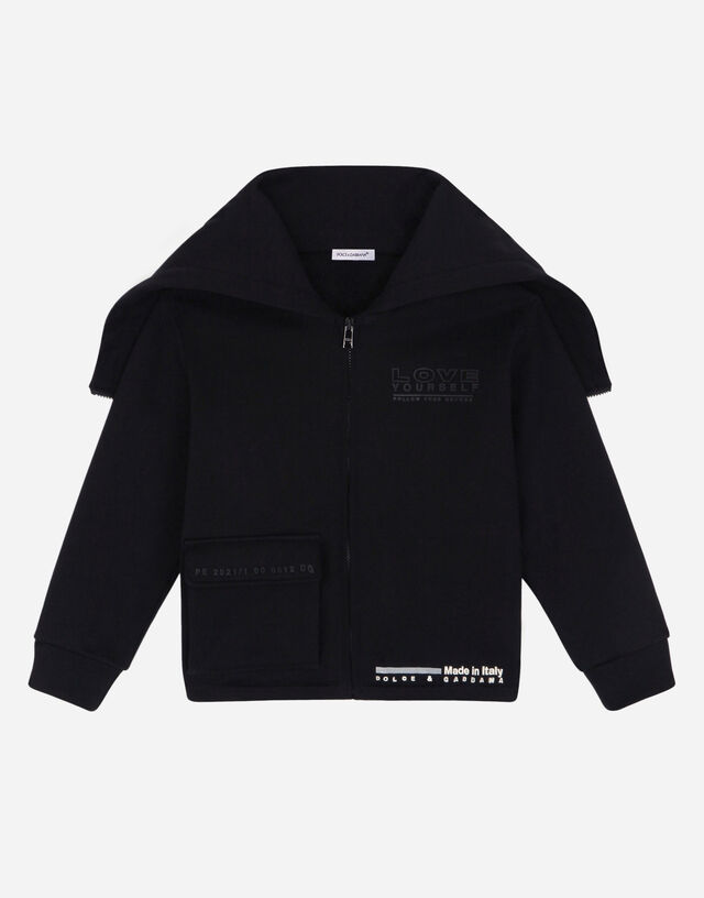 Jersey hoodie with 3d logo in Black
