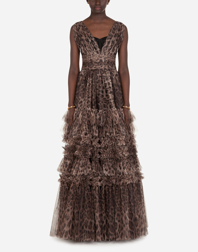 Long tulle dress with leopard print in ANIMAL PRINT
