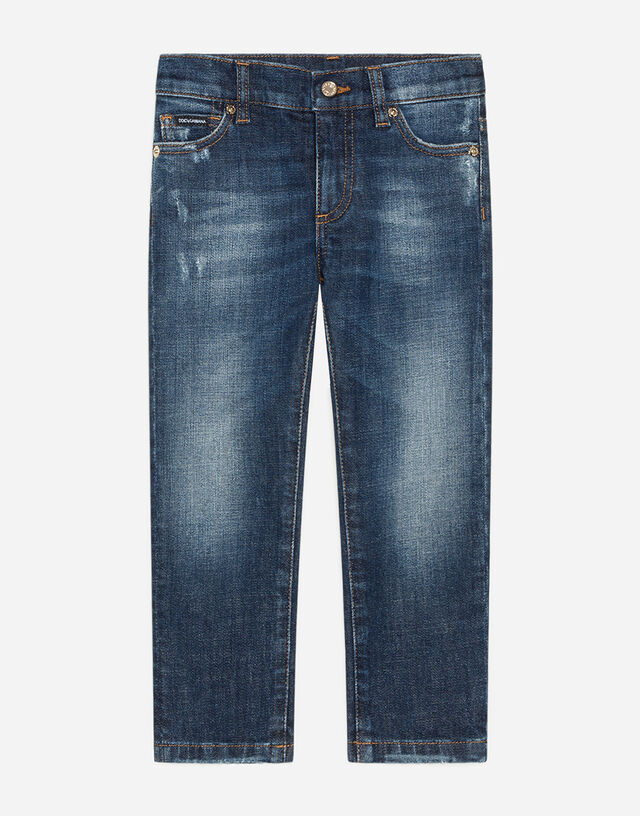 Stretch regular fit blue washed jeans with rips in Blue