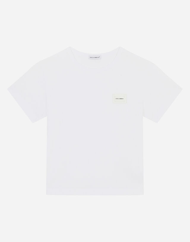 Jersey T-shirt with logo plate in White