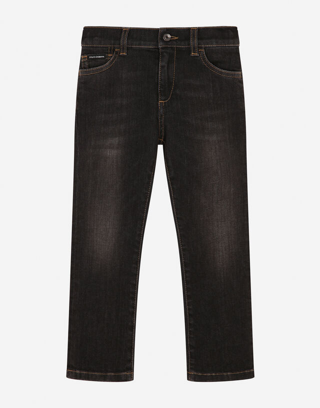 Stretch regular fit grey jeans with rips in Grey