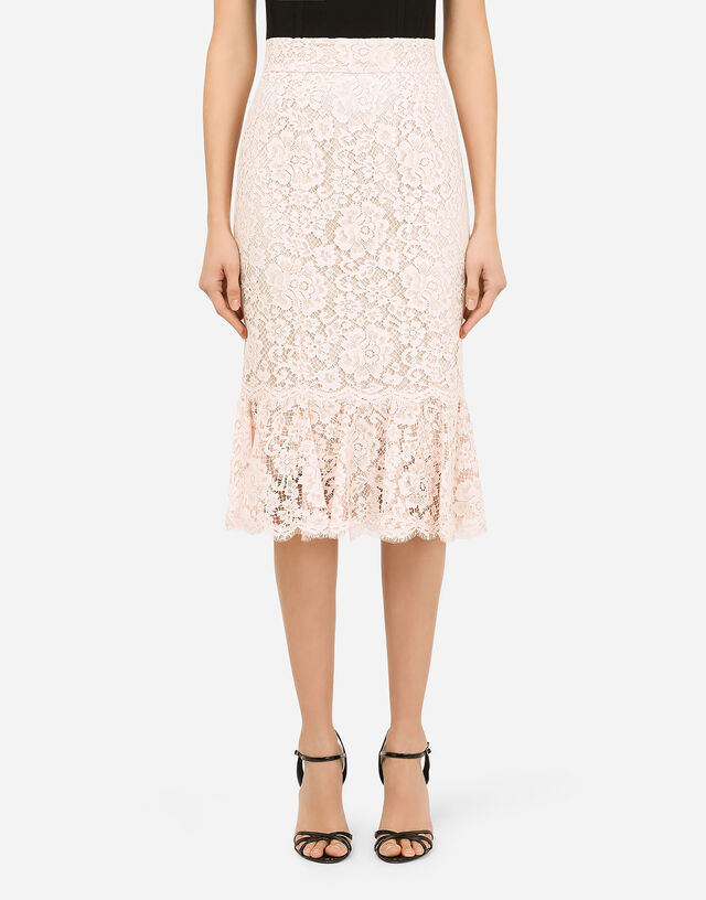Lace midi skirt with ruffle detailing in PINK