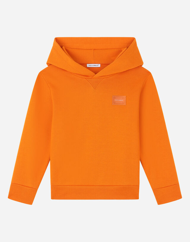 Jersey hoodie with logo plate in Orange