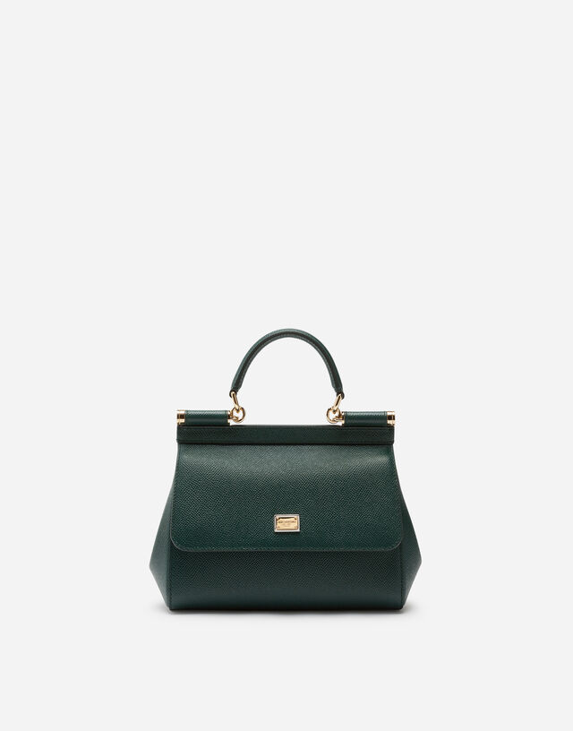 Small Sicily bag in dauphine calfskin in GREEN