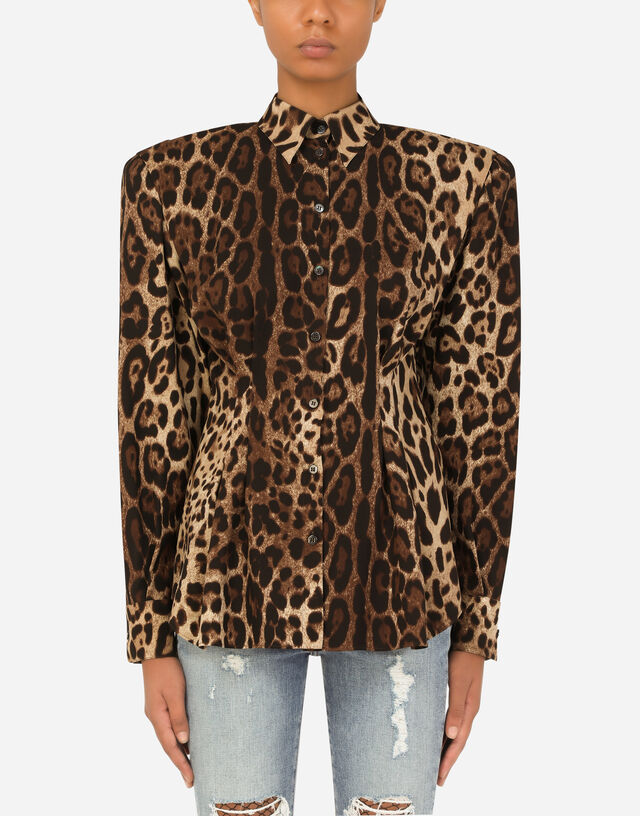 Leopard-print charmeuse shirt in Multicolor