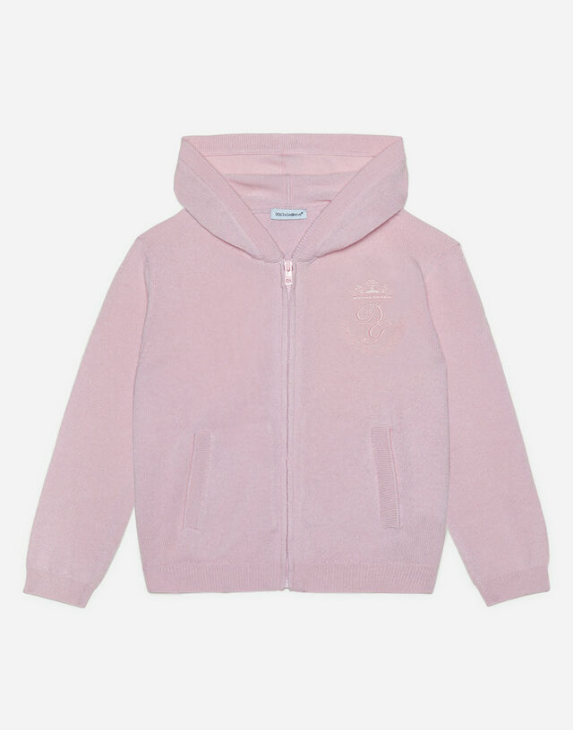 Hooded cashmere sweater with heritage embroidery in Pink