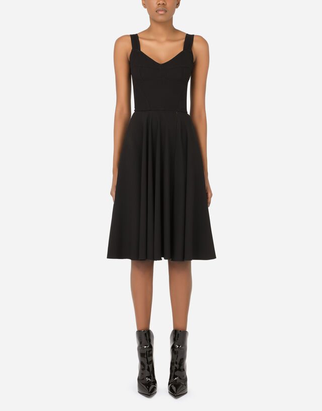 Cady and satin midi dress with circle skirt and slit in Black