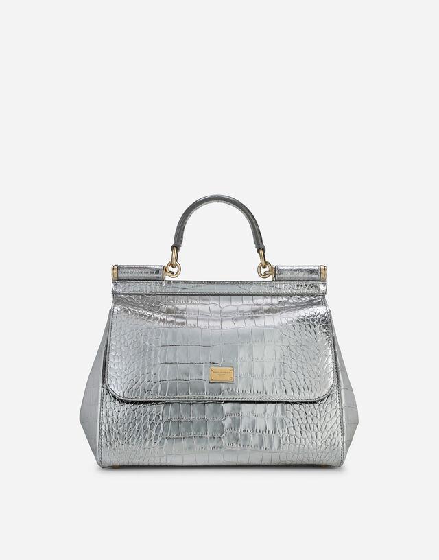 Medium Sicily bag in foiled crocodile-print calfskin in Silver