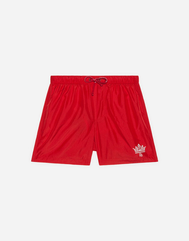 Nylon swimming trunks with logo print in Red