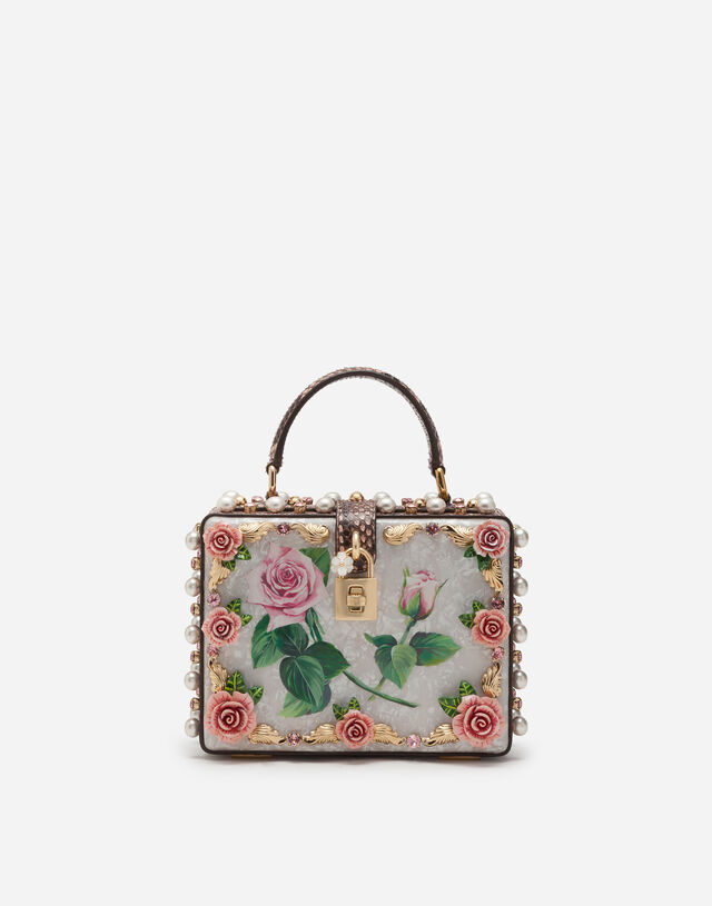 Mother-of-pearl Dolce Box bag with jewel embroidery in FLORAL PRINT