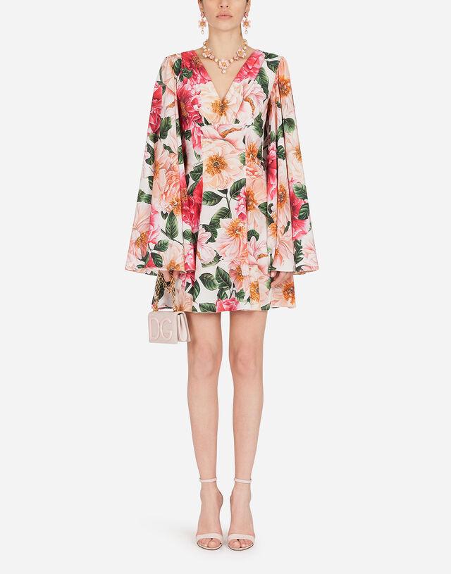 Short crepe de chine dress with camellia print in MULTICOLOR