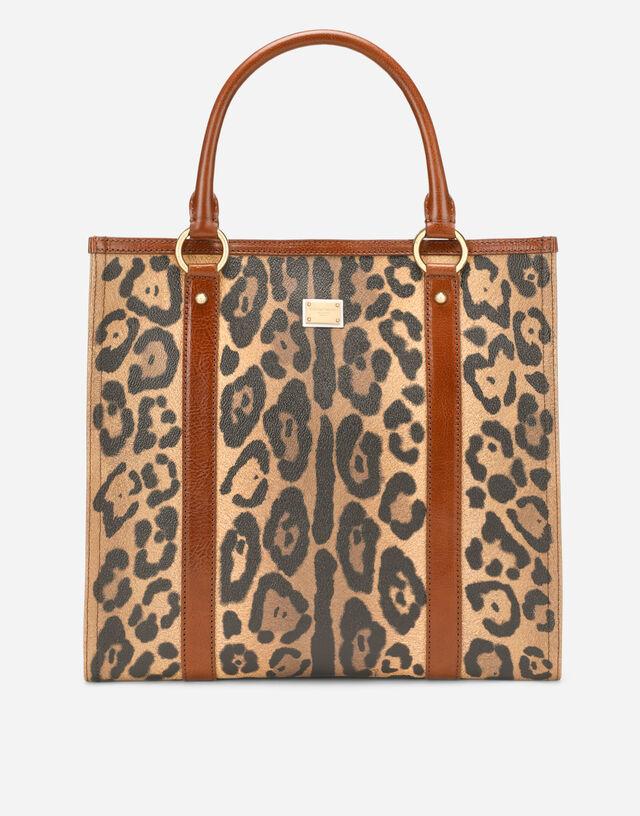 Leopard-print Crespo shopper with branded plate in Multicolor