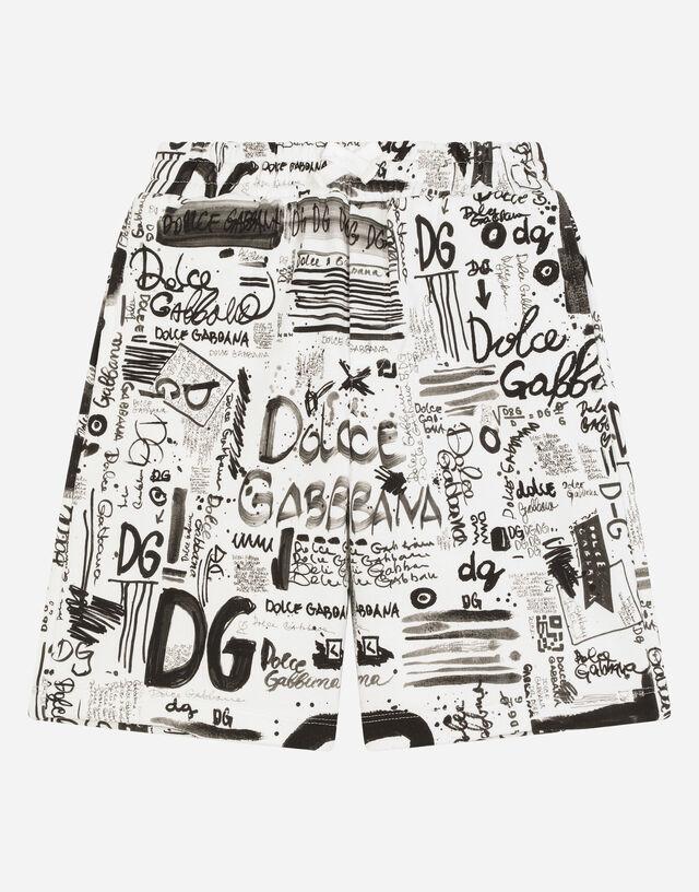 Jersey jogging shorts with graffiti print in Multicolor