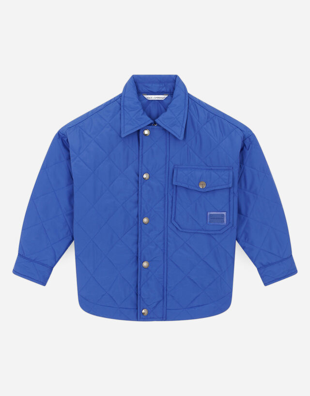 Quilted nylon jacket with logo plate in Blue