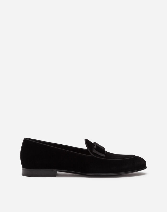 Velvet loafers with bow tie in Black