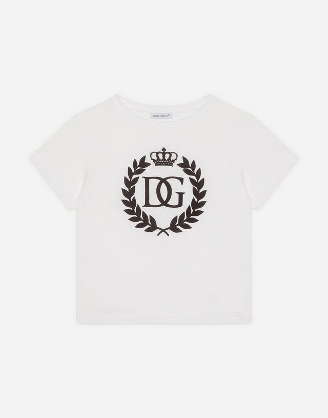 Jersey t-shirt with DG crown logo in White