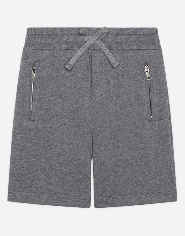Jersey jogging shorts with satin DG detail in Grey
