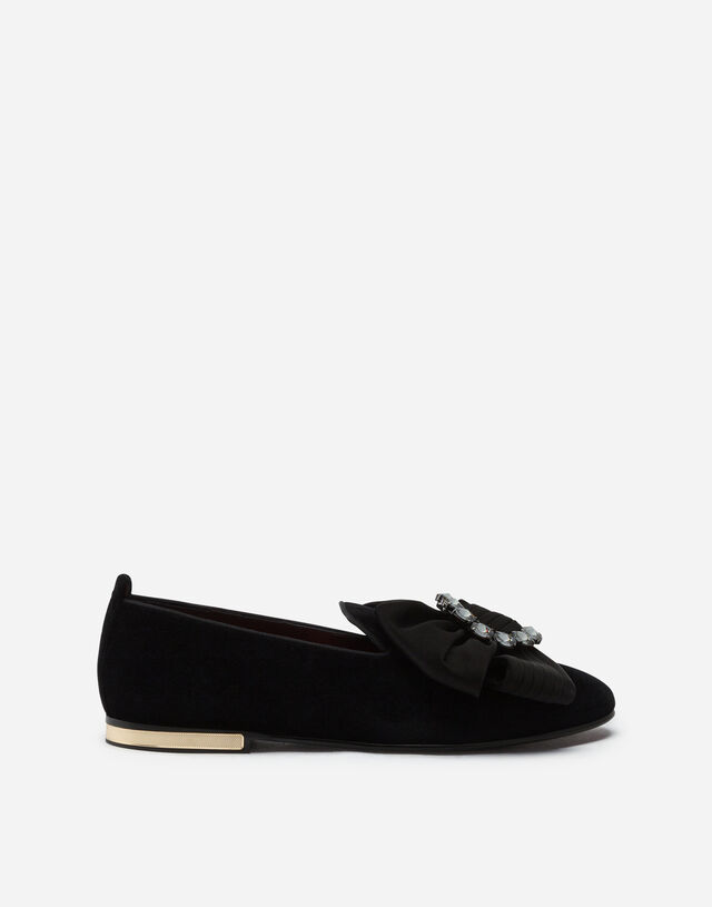 Velvet slippers with bejeweled bow in BLACK