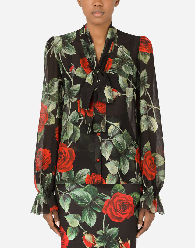 Textured chiffon pussy-bow shirt with rose print in Multicolor