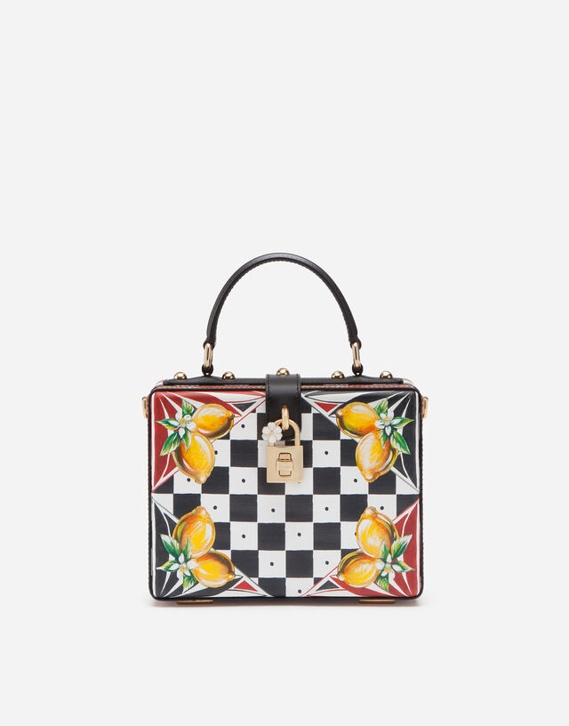 Dauphine calfskin Dolce Box bag with Carretto and lemon print in Multicolor