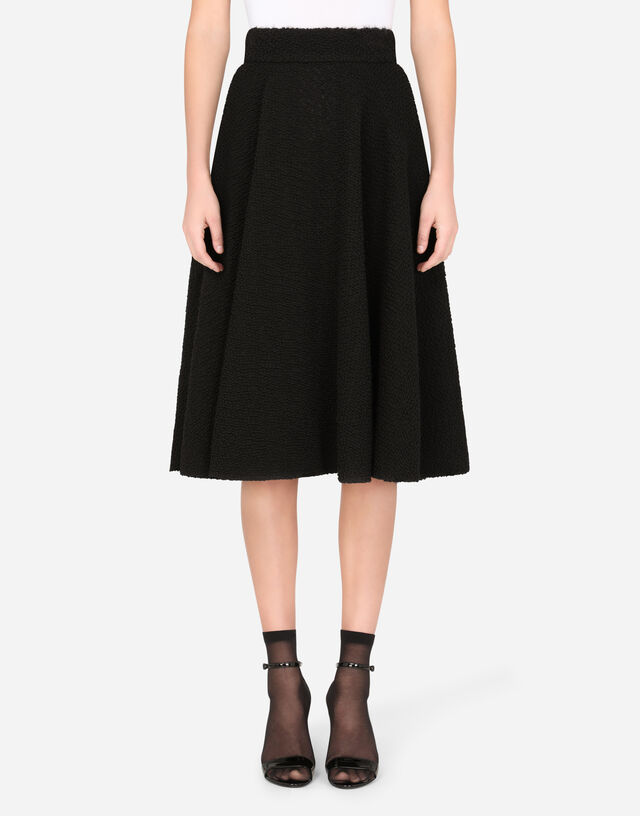 Bouclé godet calf-length skirt in BLACK