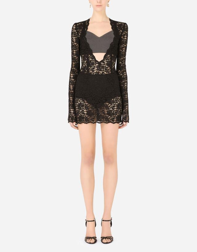 Short floral lace dress in Black