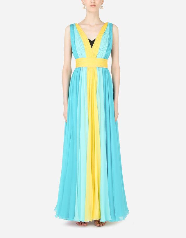 Long multi-colored silk chiffon dress in Multicolor