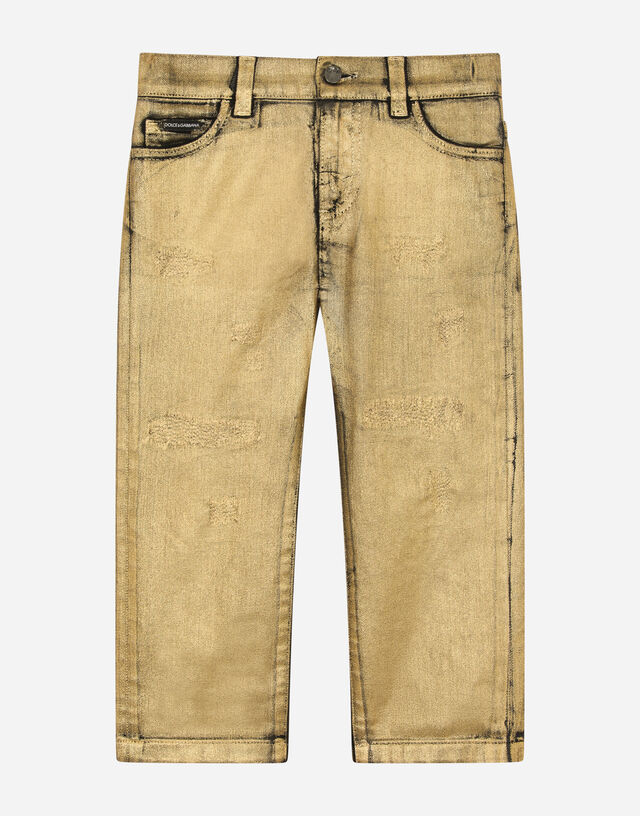 Regular-fit gold-coated jeans in Gold