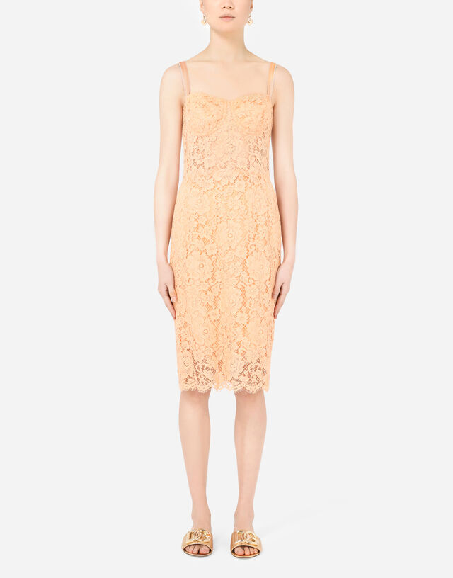 Lace bustier midi dress in PINK
