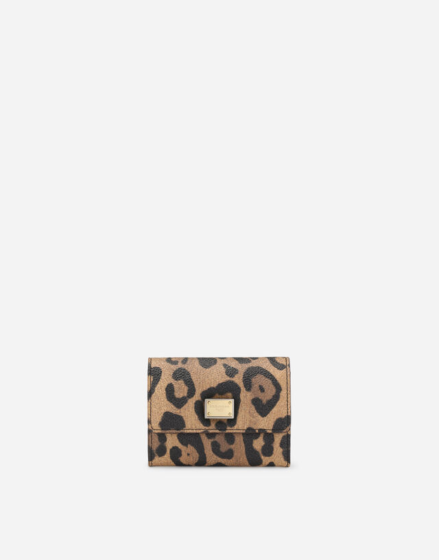 Leopard-print Crespo coin pocket with branded plate in Multicolor