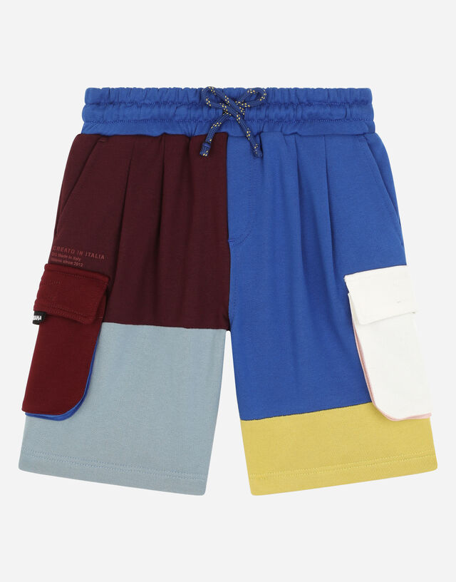 Jersey patchwork jogging shorts in Multicolor