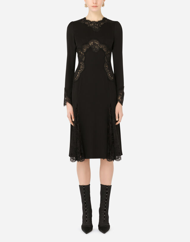 Charmeuse midi skirt with Chantilly lace inserts in Black