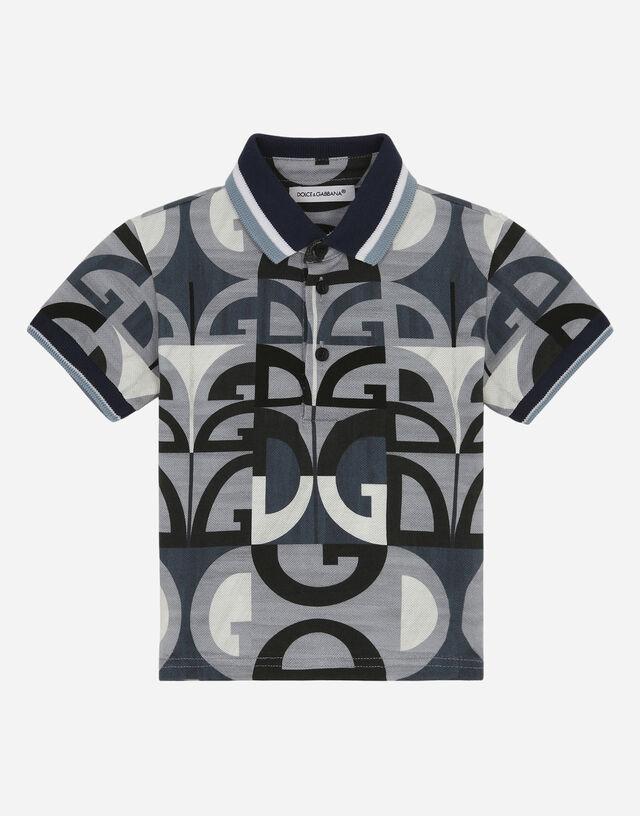 Piqué polo shirt with DG logo print in Multicolor