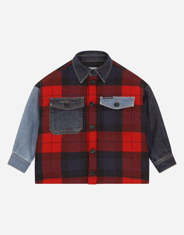 Mixed tartan and denim jacket in Multicolor